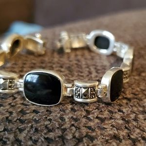 Vintage Sterling Silver Square Onyx & Marcasite